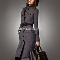 women's winter woollen coat women long slim wool female coats jackets new 2014 cashmere mandarin collar long sleeve woolen coat