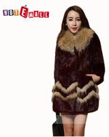 Free shipping new arrival 2014 medium-long full leather women rabbit fur fox collar coat