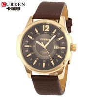 Original Curren Men Casual Watches Genuine Leather Band Steel Case Men Sports Watches with Calendar