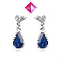D&Z Luxurious sapphire star earring girl Carving jewelry ocean Austrian crystal Chrismas wedding gift