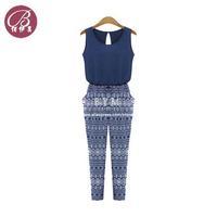 European Style 2014 Fashion Women Chiffon Stitching Casual Printing Siamese Pants Ladies Jumpsuit