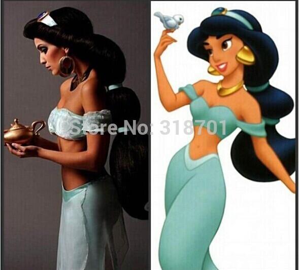 Косплей волос парик аниме аладдин жасмин принцесса длинная черный парик, Хэллоуин женщины косплей парик