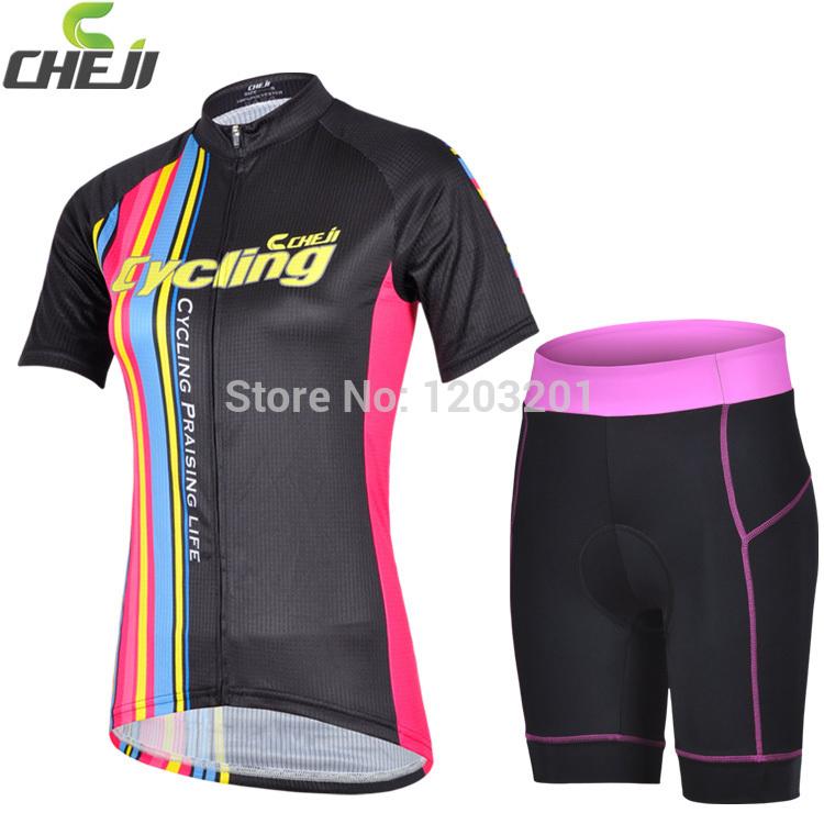 2014 Nova CHEJI Feminino Equitação Wear Tamanho X- XL Jogos da bicicleta 3D GEL acolchoados Shorts Ciclismo de manga curta mulheres plus bicicleta Jersey(China (Mainland))