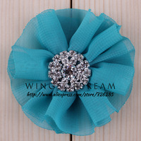 """(50pcs/lot)2.8"""" 15 Colors Chic Shiny Gem Puff Flower For Hair Band Chiffon Shabby Frayed Flower Accessories For Queen Baby"""