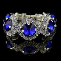 silver girl bracelet  2014 St valentine day/Christmas gifts, fashion silver plated rhinestone bracelet,blue stone bracelet