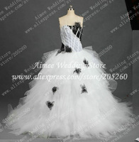 Fashion Design Strapless Ruffls Tulle Black and White Luxury Ball Gown Real Wedding Dresses Pictures 2014 Bridal Gown RA280