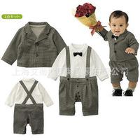 Children's clothing wholesale baby clothes boy gentleman Romper suits plaid 2 Set c119