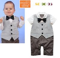 Kids Boys gentleman sleeved vest Romper baby coveralls batch c126