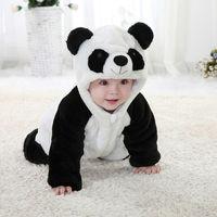Free Shipping New Cute Animal Panda One Piece Long Sleeve Cotton Baby Romper Baby Costume Newborn Romper Kids Costume C0108