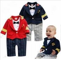 Spring Collection wanankid British style super handsome gentleman dress tie Romper false 2 * 2 color into c121