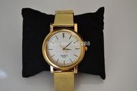 Classic Fashion Calendar Watch Women Wrist Quartz Watch Dress Watch Golden Color relogio golden steel