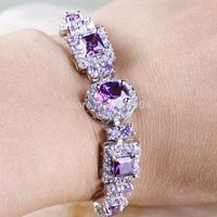 Wholesale Fashion 925 Silver Lady's Oval Cut Elegant Purple Amethyst 925 Silver Bracelets Love Style Gift