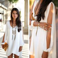 2014 Summer New Sexy Women Dresses Casual boho Chiffon Celebrity Mini White black Plus size party club beach vestidos sundress