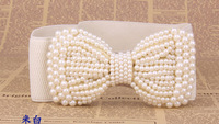 New Fashion  Bowknot is full of Black and white  pearls  elastic Belt women's strap JZ62601