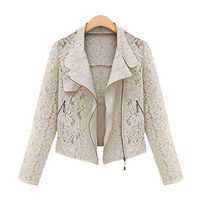 New 2014 Fashion Women Coat Solid Lace Hollow Out Plus Size spring European and American Style Women Clothing 1263