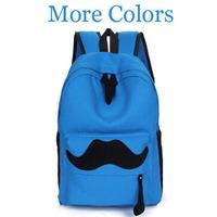 Korean 2014 Canvas Women Mustache Backpack  Casual Sport Bike Hiking Students School Men Travel Backpack Outdoor