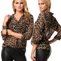 2014 Summer Women shirt leopard print chiffon casual all-match shirt plus size shirt top free shipping