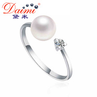 DAIMI 100% Natural Pearl Ring, Round Freshwater Pearl 925 Sterling Silver Ring, Free Shipping for Women Rings, LOLITA