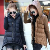 WWY50-26 2014 Winter Coat Women Down Cotton-Padded Jacket Cloak Irregular Casual Slim High Quality Parka Plus Size Outerwear