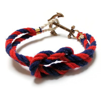 new handmade vintage Navy wind hand-woven anchor Multicolor Cotton bracelets  for Lovers Kiel