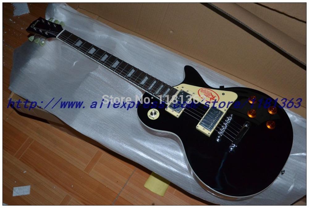 Wholesale Custom shop black color Flame electric guitar one neck (No Scarf) replica guitar Free Shipping(China (Mainland))