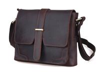 Unisex vintage style genuine leather messenger shoulder bag for women men New Autumn/Winter collection TIDING 11132