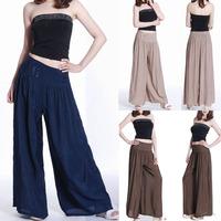 Fashion Women Loose Long Culottes Brocade Pants Dress Wide Leg Pants Trouser