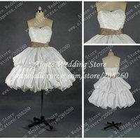 Cute Real Wedding Dress Short Sweetheart Mini Satin Bridal Dress Gown 2014 Above Knee RA202