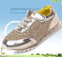 fashion 2014 spring male female child skateboarding shoes Korean version metallic paillette kids sneakers free shipping K506