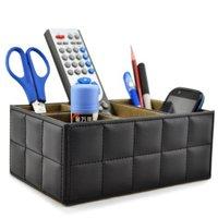 Leather Remote Controller/TV Guide/CD OrganizerHolder Home Organizer Desk Makeup Organizer Storage Boxes Bins Black White Color