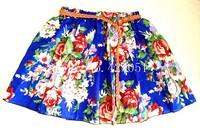 Cheapest 20 styles new 2014 Ladies Elastic Waist women skirt Prints Flower Pattern short Mini Skirt with belt
