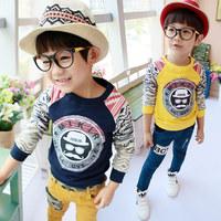 Hu Sunshine wholesale new 2014 autumn Fall fashion boys navy gray yellow hoody kids