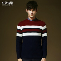 Freeshipping!2014 New men stirpes sweaters  for autumn and winter O-neck knit sweater warm more color M-2XL size(MY0026)