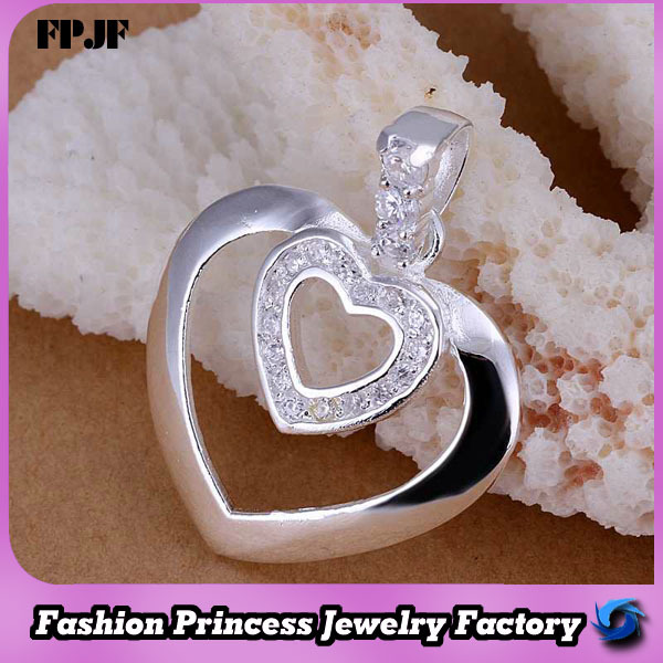 MP221 2014 Fascinate 925 sterling wholesale silver plated heart magnetic necklace pendant(China (Mainland))