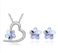 2Pcs Jewelry Sets Heart Love Plum Crystal Necklace+Earrings  Fashion Jewelry