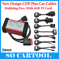 New V2014.02 TCS CDP Pro Plus Bluetooth Multidiag Pro+ for Cars/Trucks and OBD2 With 4GB TF Card + Full Set Car Cables by DHL