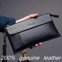 2014 New 100% Genuine leather men Handbags fashion designer man purse soft cowski Clutch Coin Wallet Money Clip / Card Holders