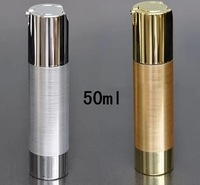QE capacity 50ml UV silver airless vacuum pump lotion bottle with silver line used for Cosmetic Container