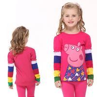 2014 Hot new fashion nova kids brand children clothing printed peppa pig autumn long sleeve T-shirt  for baby girls F2179#