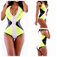 Deep V Neck Sexy Swimsuit Print Bikini Sets Girl triangl beachwear zipper bandage bikini High Waist Swimwear 2014 Bathing Suit