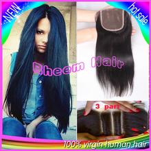6A Virgin Hair Peruvian Closure Free Part 3 Part Lace closure Bleached Knots Middle part Straight Human Hair Lace Closure (China (Mainland))