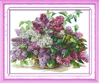 Free Shipping !!Lilac Counted Cross Stitch Unfinished DMC Cross Stitch DIY Dimension Cross Stitch Kits for Embroidery Needlework