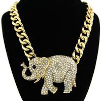 11.11 Hip Hop Crystal Clear Rhinestone Fashion Chunky Gold Chain Cute Elephant Pendant Choker Necklace for Woman 2014