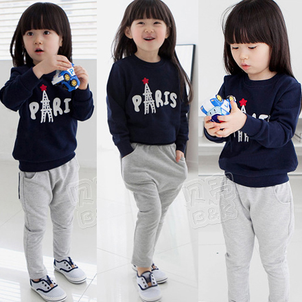 Clothing Sets 2015 new autumn fashion round neck long-sleeved children suit Blue print tops and gray sweat pants girls suit(China (Mainland))
