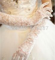 2014 New Arrival White or ivory Brand New Satin Lace gauze Finger elbow Length Gloves Bridal Wedding Gloves