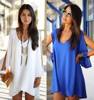 Plus size Women Celebrity Midi Dress V-neck mini chiffon dresses women summer dress 2014 new fashion casual dress vestidos