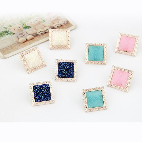 4 Candy Colors Sweet Street Style Flower Pattern Square Stud Earrings Elegant Simple Jewelry For Women For Party Wholesale PD21(China (Mainland))