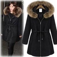 UK Brand 2014 Autumn Winter New Fashion Fake Fur Hooded Coat  Women Nibbuns Woolen Tweed Long Coat  Outerwear Casacos Femininos