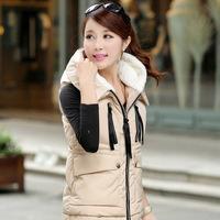 Free shipping New arrivals 2014 down vest jacket solid color XXXL plus size warm hooded parkas winter vest women's jackets