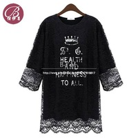 Free Shipping Women New Fashion 2014 Latest Fake Two-piece Casual Letter Pattern Double Bottoming Lace Blouse & Shirt